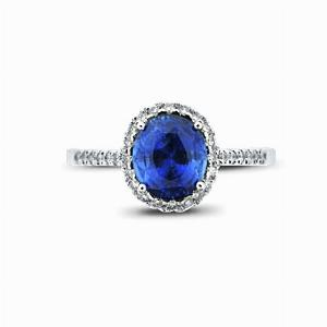 Oval Sapphire & Diamond Halo Ring - 2.00ct